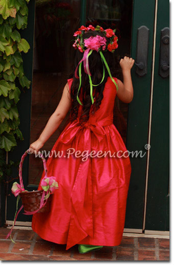 Redish Pink Silk flower girl dresses by Pegeen.com Style 318