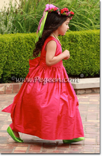 Flower Girl Dresses in Lipstick Pink Silk - Pegeen Flower Girl Dress Style 318