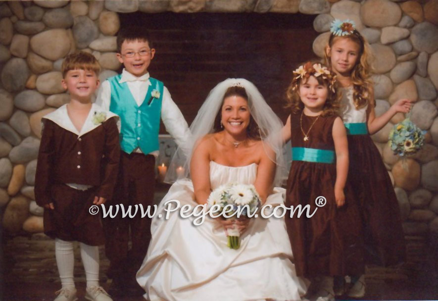 Brown flower girl dresses and ring bearer suits