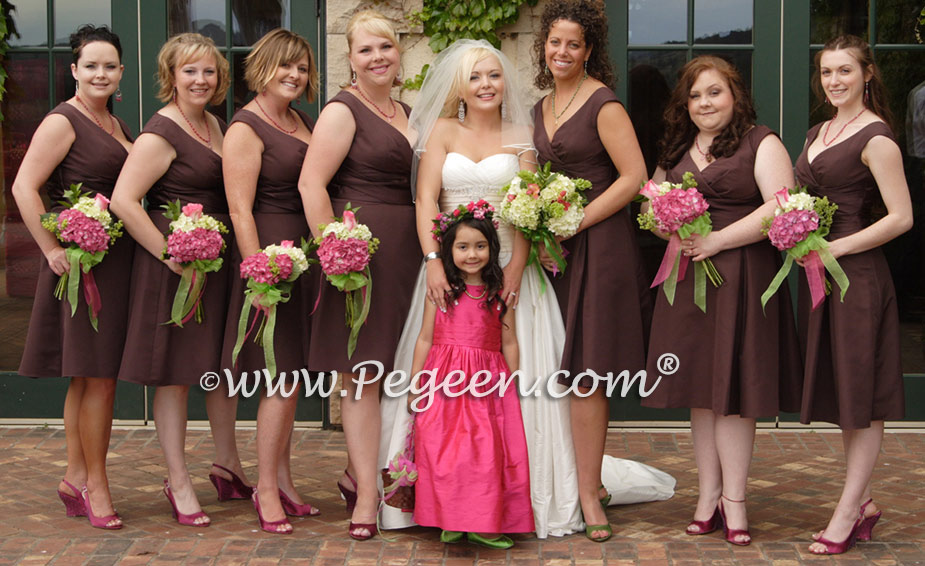 Chocolate brown and Hot Raspberry pink flower girl dresses