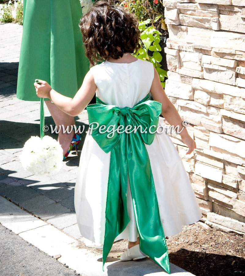 Clover green and bisque custom silk flower girl dresses