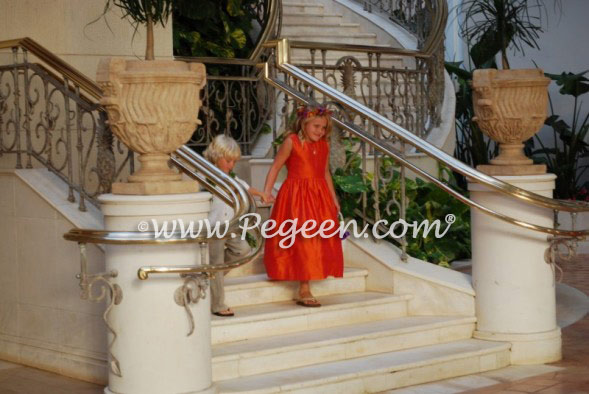 Mango orange custom silk flower girl dresses