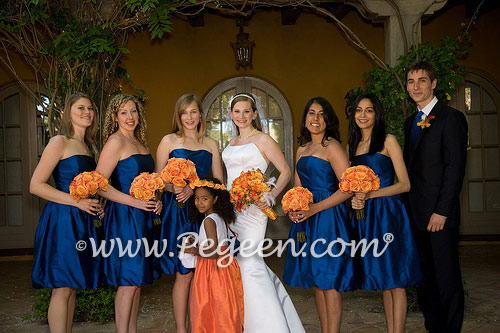 Orange and navy blue wedding flower girl dress