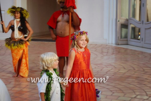 Mango orange custom silk flower girl dress
