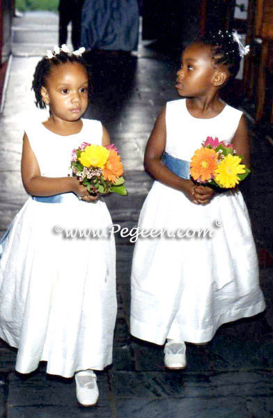 Denim Blue and Antique White Silk Flower Girl Dresses