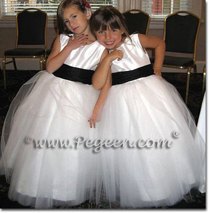 Pegeen Couture Flower Girl Dress Style 402 in Antique white and black tulle flower girl dresses
