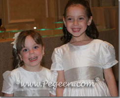 platinum silver and ivory flower girl dresses with 3/4 sleeves, long sleeves