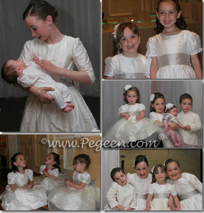 Flower girl dresses with 3/4 sleeves in ivory and light silver platinum
