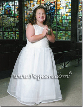 Plus Size First Communion Dresses Style 325 in Silk and Organza with a Pearl Bodice