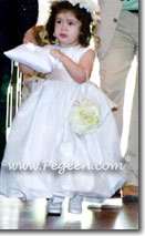 White silk bubble dress for flower girl