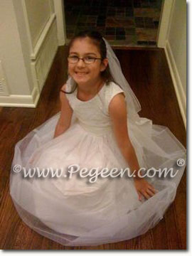 White silk first communion dresses