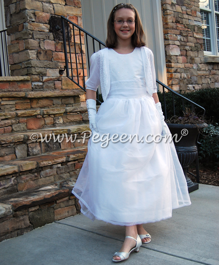 Pegeen Flower Girl Dress Style 325 in antique white silk with pearled bodice for cotillion dresses