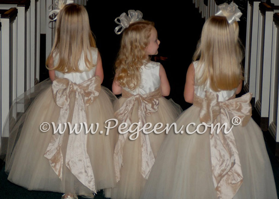 Pegeen Couture Flower Girl Dress Style 402 ivory and toffee tulle flower girl dresses