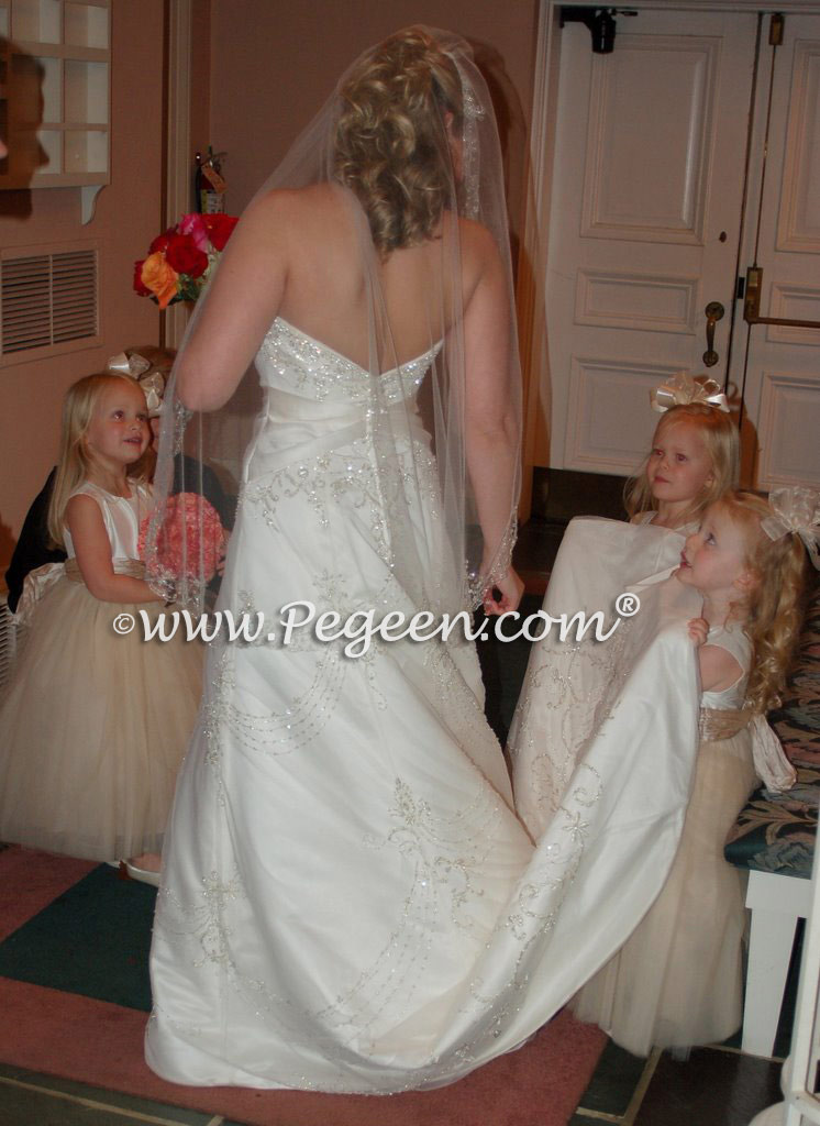 Ivory and toffee Degas Style Ballerina Tulle Flower Girl Dresses