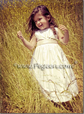 ivory and wheat light gold flower girl dresses