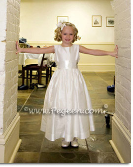 Classic Plain silk ivory flower girl dress with removable sash Pegeen Style 300