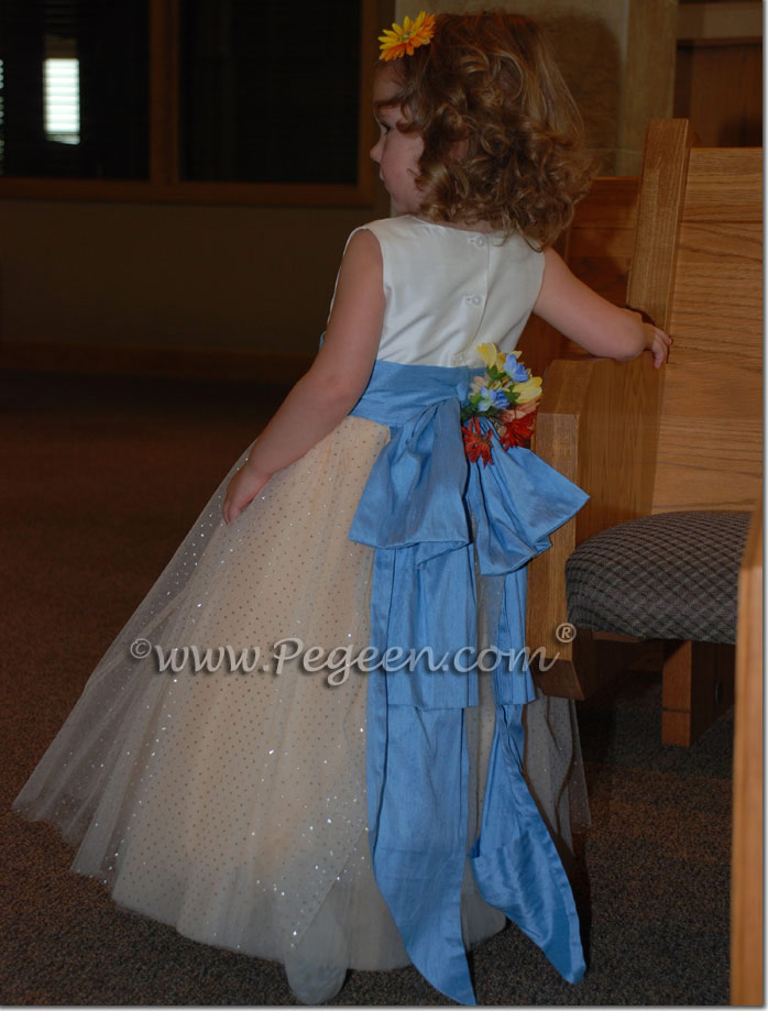 peach and silver metallic 10 layers of tulle flower girl dresses by pegeen