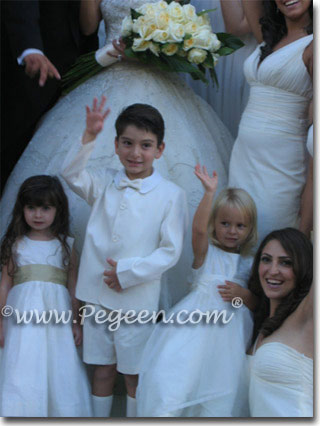 Pegeen Style 359 white and gold silk flower girl dresses