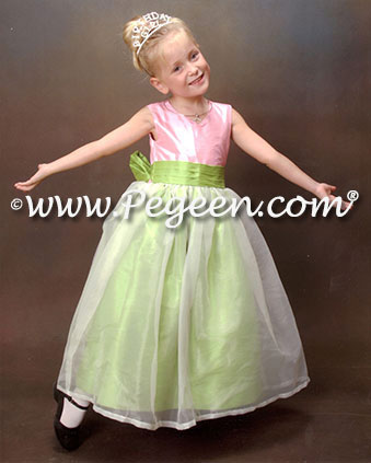 Apple Green and Bubblegum Pink Flower Girl Dress