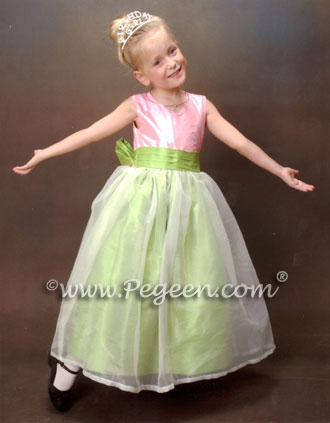 Green and Pink flower girl dresses