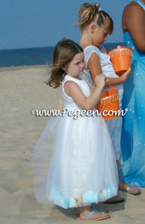 Pegeen style 333 Silk and tulle white flower girl dresses with shells and petals in skirt for beach wedding