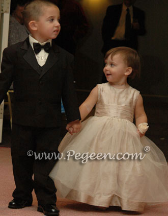 Champagne tulle infant - toddler flower girl dress