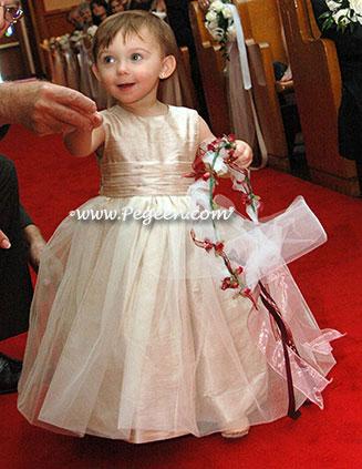 champagne blush silk toddler flower girl dress