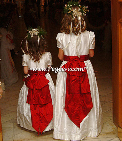Flower Girl Dress in Christmas red holiday wedding