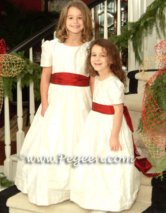 Ivory and red Christmas flower girl dresses