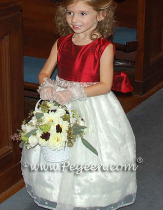 Sequined embroidered organza and red claret silk flower girl dress