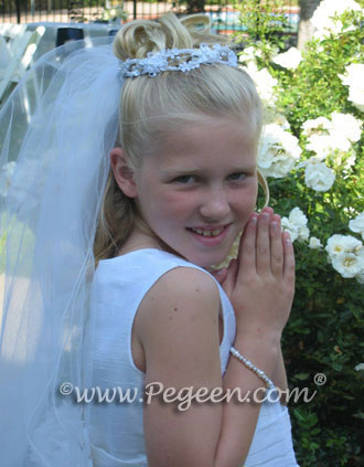 White silk First Holy Communion Dress