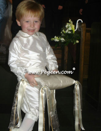 New Ivory silk ring bearer suit
