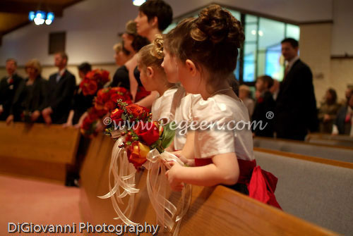 Black, ivory and cranberry flower girl dresses