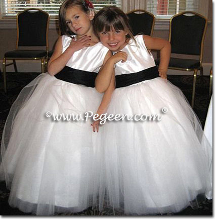 Black & White Tulle flower girl dresses