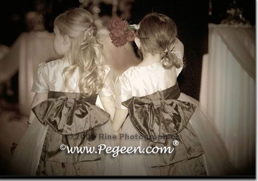 PLATINUM AND PEWTER (CHARCOAL) CUSTOM FLOWER GIRL DRESSES