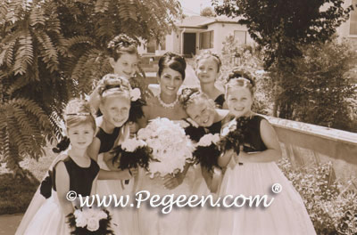 Black and Ivory flower girl dresses