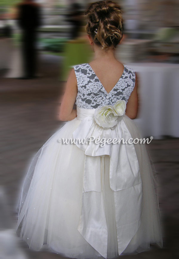 New ivory aloncon and black flower girl dresses Pegeen style 697