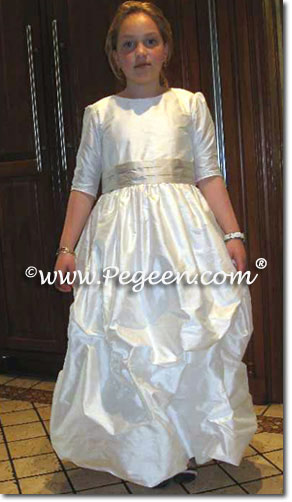 Flower girl dresses and Jr Bridesmaids dresses with long sleeves and high necks