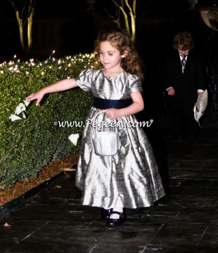 Silver and navy custom silk flower girl dress - above - Pegeen Classic Style 398