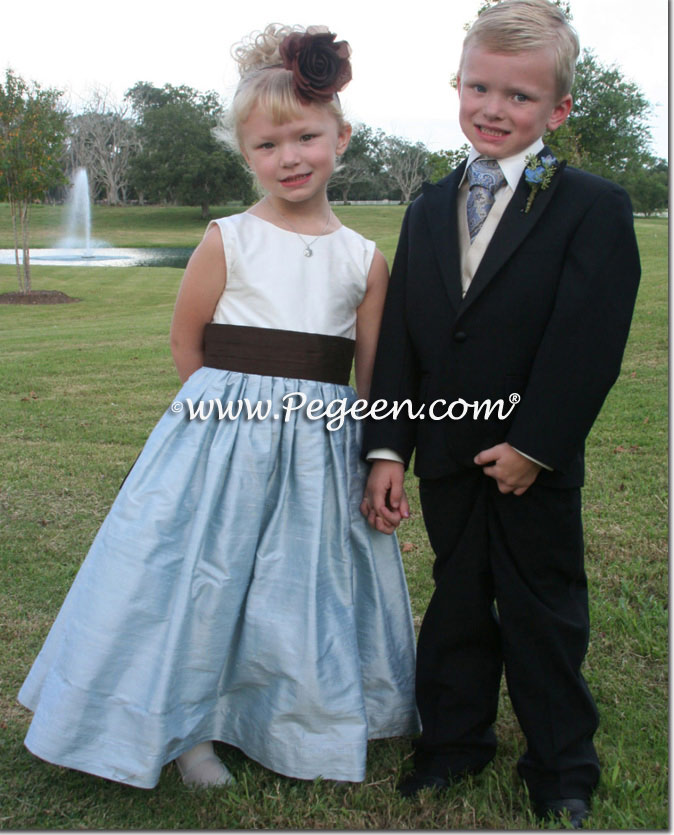 Jim Hjelm Matching FLOWER GIRL DRESSES in Caribbean Blue by Pegeen