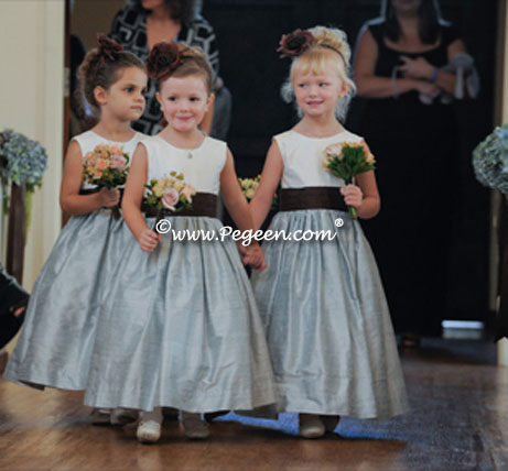 Caribbean Blue and Brown flower girl dresses by Pegeen to match Jim Hjelm - Pegeen Classic Style 383