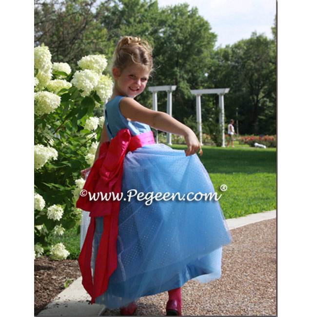 blue and hot pink tulle flower girl dress with sparkles