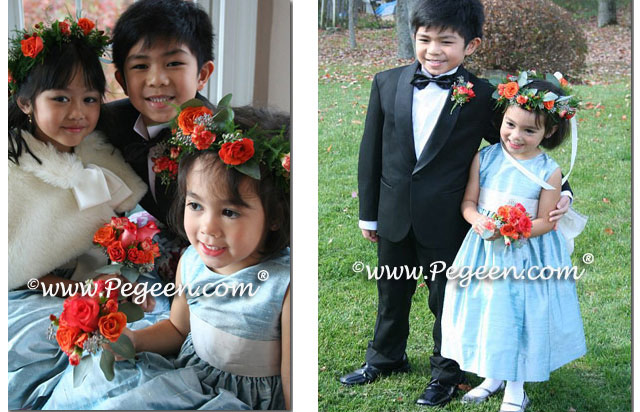 Caribbean blue and platinum silk flower girl dress by Pegeen Style 398
