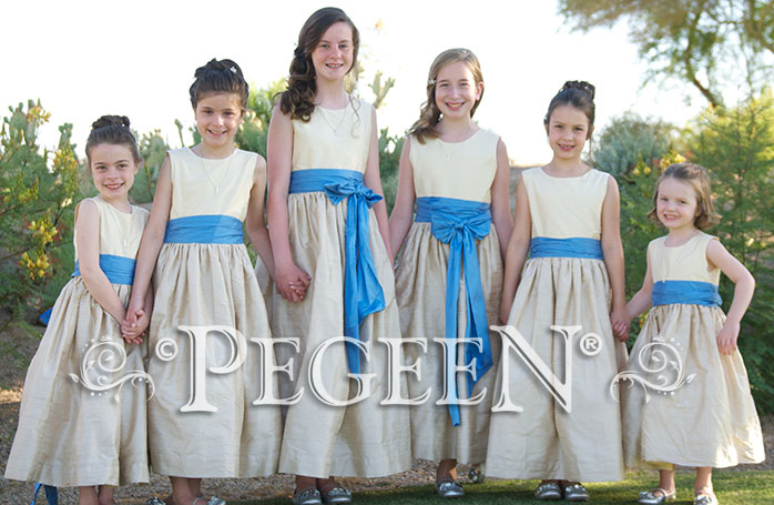 Flower girl dresses and Jr bridesmaids dresses in Blue Moon, Light Gold and Buttercreme