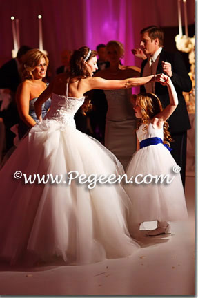 Blue and white tulle flower girl dresses