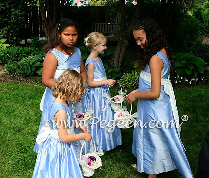 Pegeen Style 320 and 398 Silk Flower Girl Dresses in Wisteria Blue