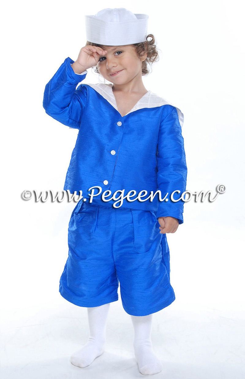 Boys's blue silk sailor suit Style 240