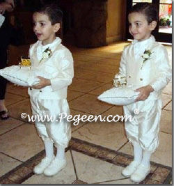 Ivory silk knicker ring bearer suits