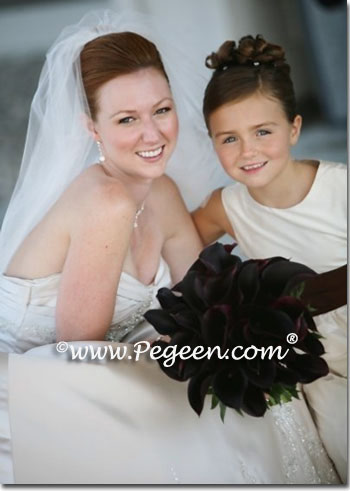 chocolate brown and ivory silk with pearls flower girl dresses