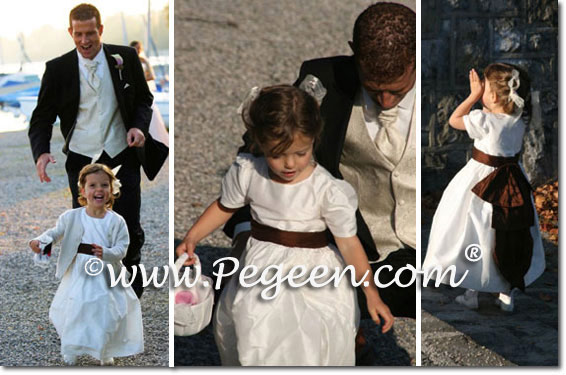Brown and white silk flower girl dresses